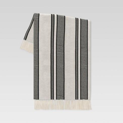 Woven Throw Blanket Black Stripe - Threshold™ designed with Studio McGee - image 1 of 4
