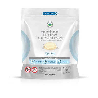 Method Free + Clear Laundry Detergent Packs - 42ct