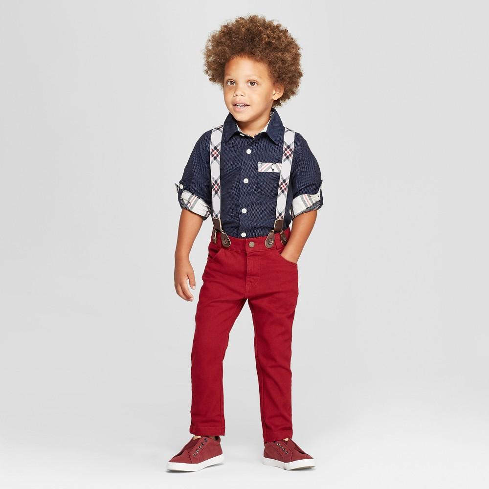Genuine Kids from OshKosh Toddler Boys' 3pc Holiday Dressy Shirt, Pants and Suspender Set - Navy/Dark Red 2T