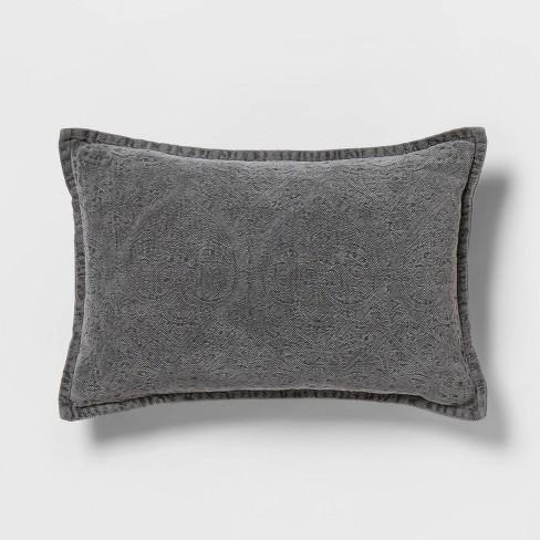 Gray Stonewashed Lumbar Pillow - Threshold™ - image 1 of 4