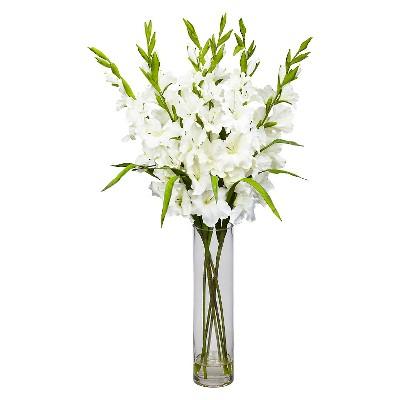 Nearly Natural Large Gladiola w/Cylinder Vase Silk Arrangement