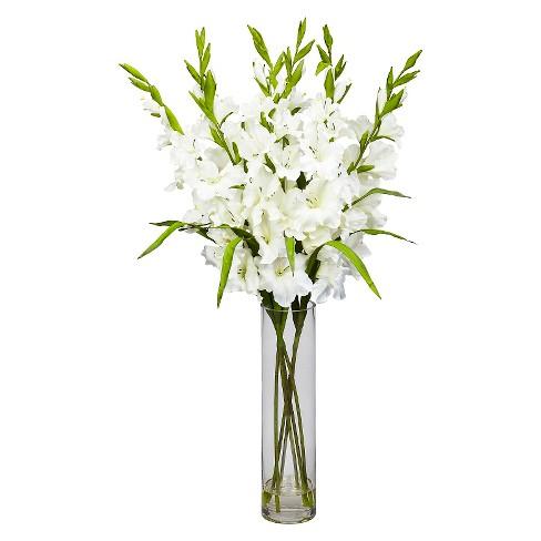 Nearly Natural Large Gladiola w/Cylinder Vase Silk Arrangement - image 1 of 3
