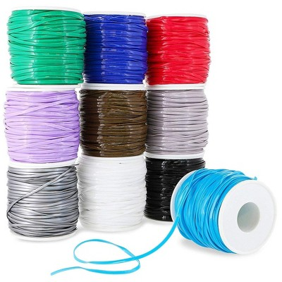 10-Pack Plastic Lacing String Cord for Diy Craft Jewelry, 10 Colors, 2.5 X 1Mm, 50 yards Length