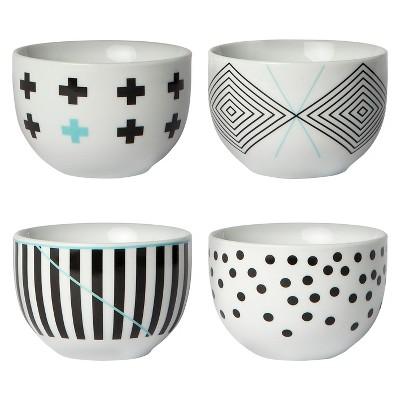 Cheeky® 8oz Porcelain Mini Bowls - Black & Teal - 4-pack