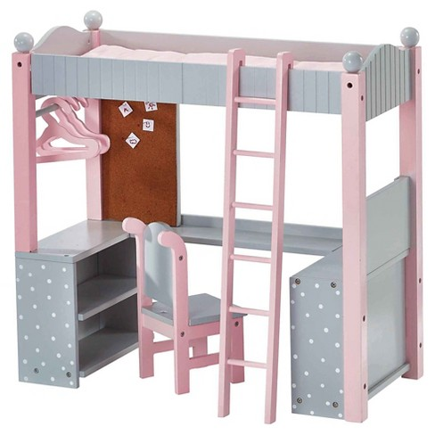 Olivia's Little World - 18 inch Doll Furniture - College Dorm Double Bunk Desk (Gray Polka Dots) - image 1 of 7