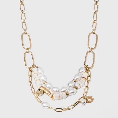 Pearl, Shell and Metal Charm Necklace - A New Day™