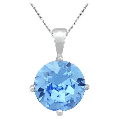 "Women's Sterling Silver 10mm Round Sapphire Crystal Pendant (18"") - image 1 of 1"