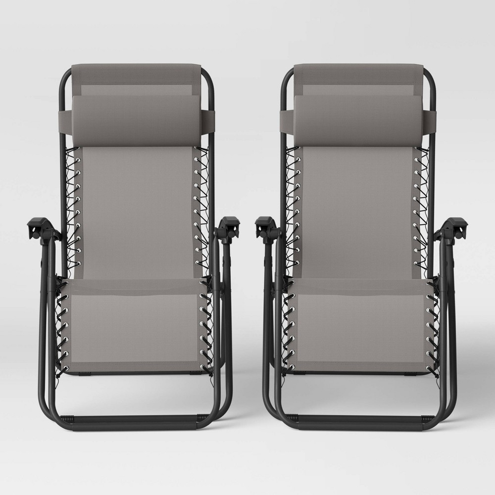 Image of 2pk Zero Gravity Loungers Gray - Room Essentials