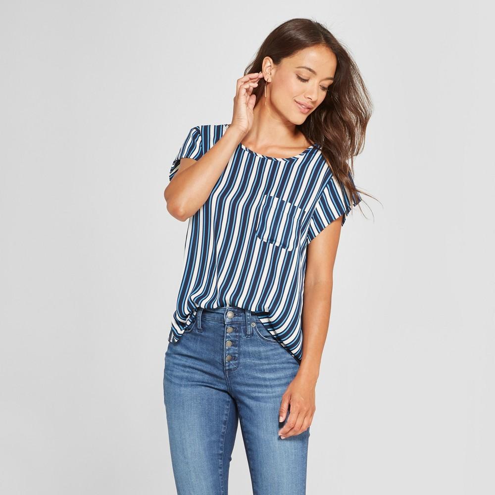Women's Striped Short Sleeve Woven T-Shirt - Lux II - Navy S, Blue
