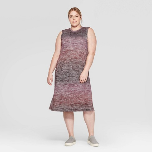 Women\'s Plus Size Sleeveless Crewneck Ombre Midi Knit Dress - Prologue™  Purple