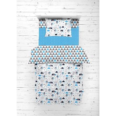 Bacati - Woodlands Aqua/Navy/Gray 4 pc Toddler Bedding Set