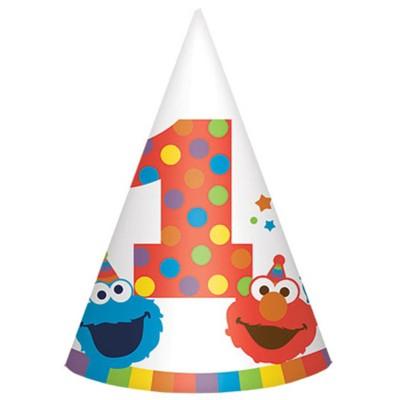 Birthday Express Sesame Street Elmo Turns One Cone Hats - 8 Pack