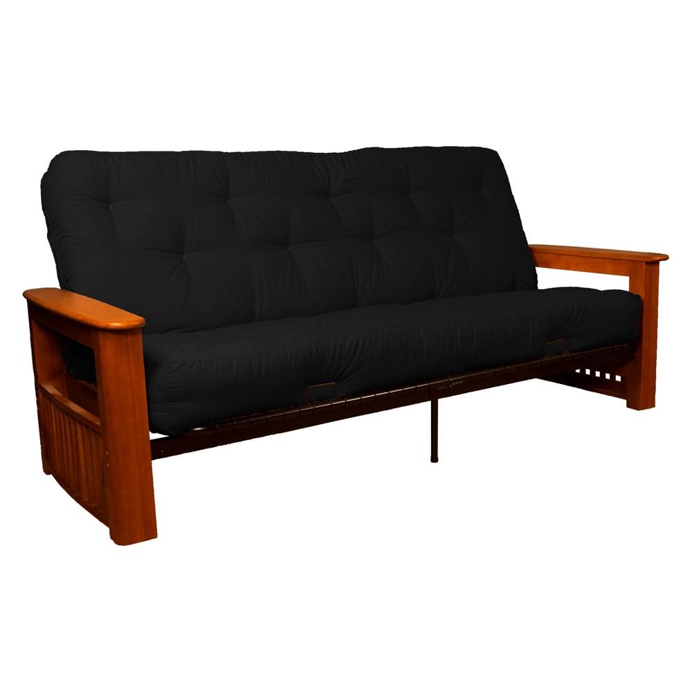 Flip Top Arm 8 Inner Spring Futon Sofa Sleeper Walnut Wood Finish Black - Epic Furnishings