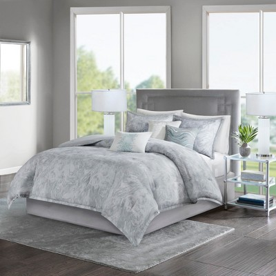 7pc Queen Karlene Cotton Sateen Comforter Set Gray
