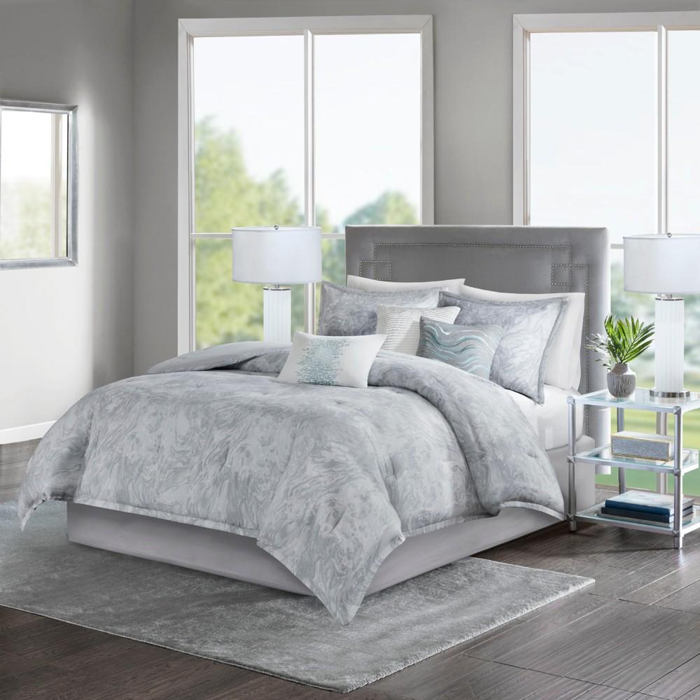7pc Queen Karlene Cotton Sateen Comforter Set Gray