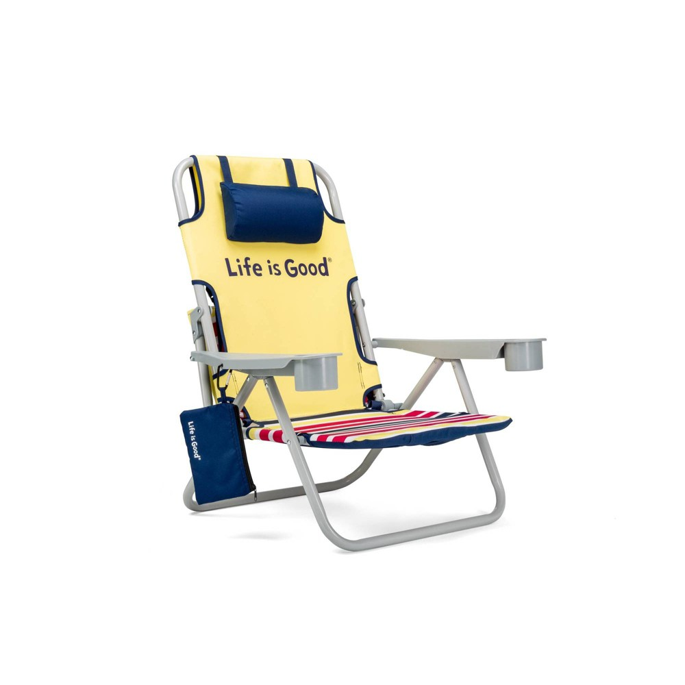Image of Aluminum Folding and Reclining Beach Chair Daisy Yellow - Life is Good