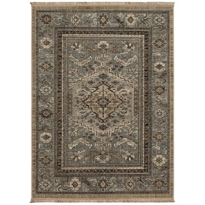 5'X7' Floral Woven Area Rug Gray - Threshold™