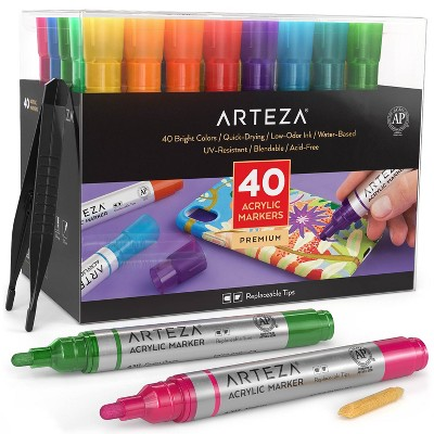 Arteza Premium Acrylic Marker Art Supply Set, Classic Hues and Metallic Colors with Replaceable Tips - 40 Colors