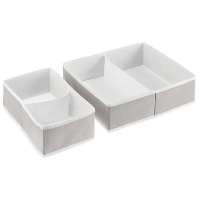 mDesign Fabric Dresser Drawer Storage Organizers, Set of 2