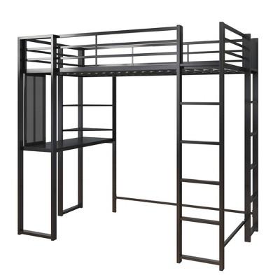 Twin Adele Loft Bed with Desk Black - Room & Joy
