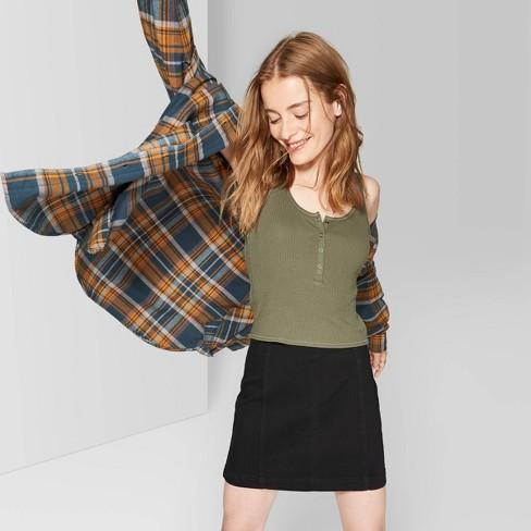 Women's Seamed Denim Mini Skirt - Wild Fable™ Black - image 1 of 3