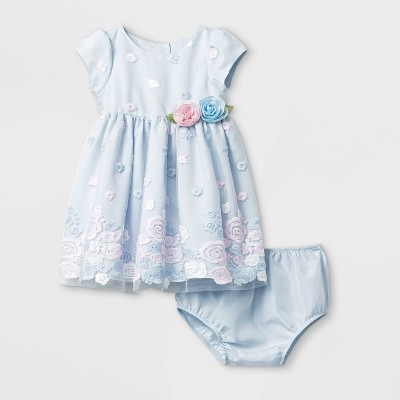 Mia & Mimi Baby Girls' Border Embroidered Dress - Blue 0-3M