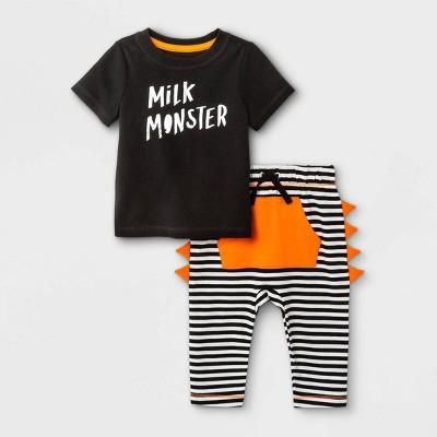 Baby Boys' Milk Monster Short Sleeve Top & Bottom Set - Cat & Jack™ Black