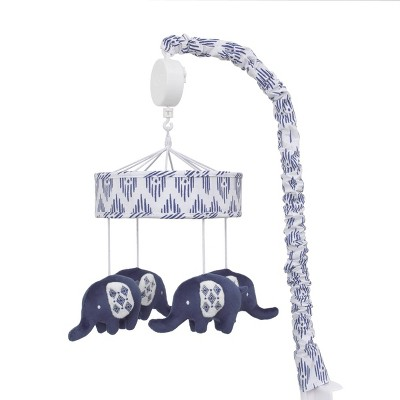 NoJo Indigo Hues Blue and White Nursery Crib Musical Mobile with Plush Velboa Elephants