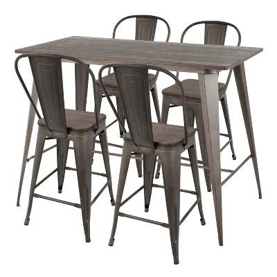 5pc Oregon Industrial High Back Counter Set Dining Sets Antiqued/Espresso - LumiSource
