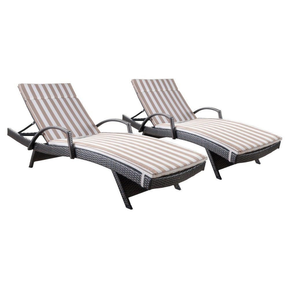 Salem Set Of 2 Brown Wicker Adjustable Chaise Lounge With Arms Brown And White Stripe Christopher Knight Home