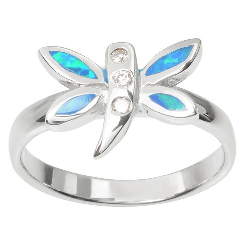 1/8 CT. T.W. Journee Collection Round Cut CZ Inlaid Dragonfly Ring in Sterling Silver - Silver (5) - image 1 of 2