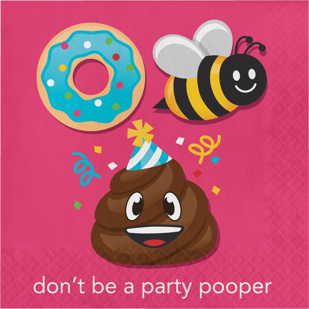 Image of 16ct Creative Converting Show Your Emojions Don't Be a Party Pooper Napkins