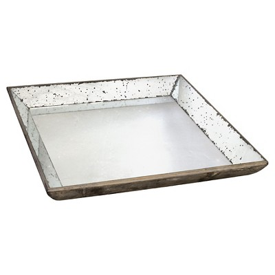 Vintage Finish Mirrored Glass Tray - 20x20""