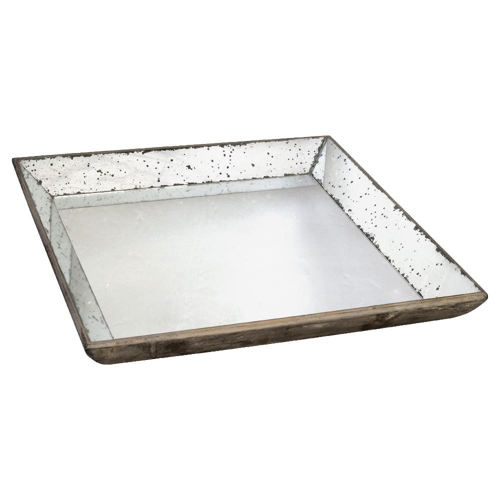 Vintage Finish Mirrored Glass Tray - 20x20, Gray Dusk