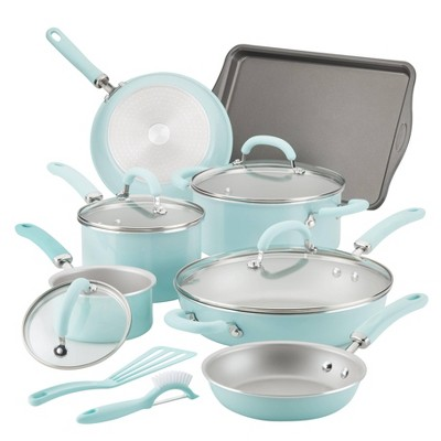 Rachael Ray Create Delicious 13pc Aluminum Nonstick Cookware Set Light Blue