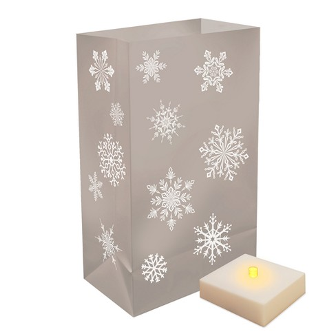 LumaBase® 6ct Christmas Battery Operated Silver Snowflakes Luminaria Light Kit with Timer - image 1 of 3