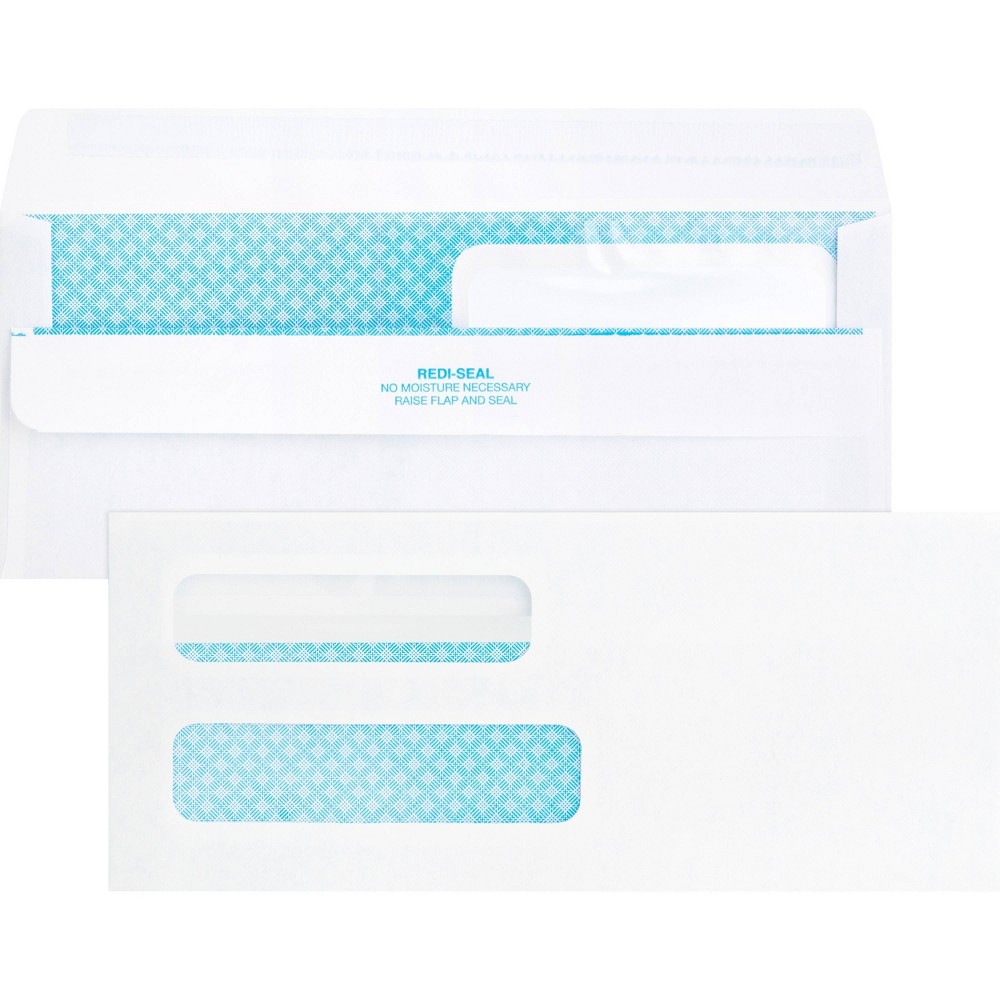 Image of Business Source 250ct Double Window No.8 5/8 Check Envelopes, White