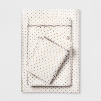 Cotton Percale Print Sheet Set (Queen) Gold - Opalhouse™
