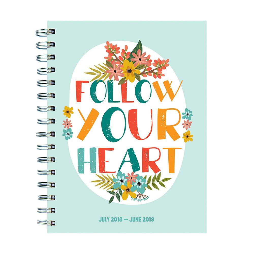 2018 - 2019 Academic Spiral Follow Your Heart Planner, Heart