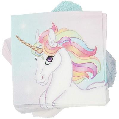 "Blue Panda 100-Pack Rainbow Unicorn Disposable Paper Napkins 6.5"" Party Supplies"