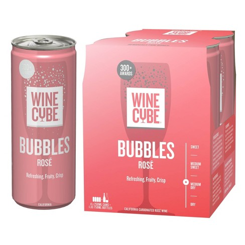 Bubbles Sparkling Rose Wine 4pk / 250ml Cans - Wine Cube™ - image 1 of 2