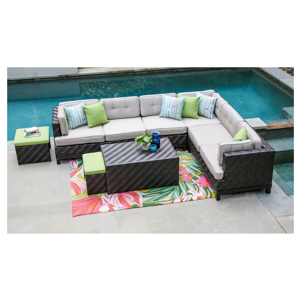 Canyon 7pc All-Weather Wicker Patio Sectional Seating Set - Tan - AE Outdoor