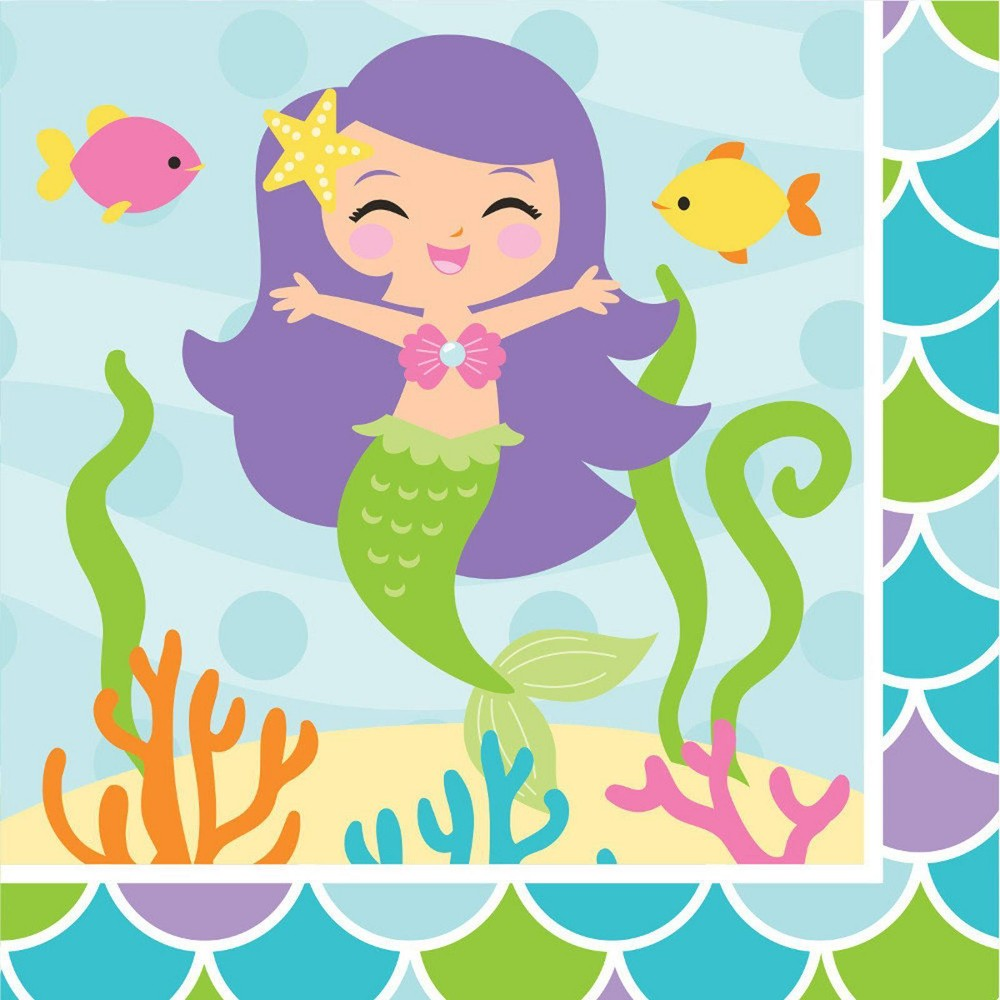Image of 16ct Mermaid Friends Beverage Napkins, Multi-Colored