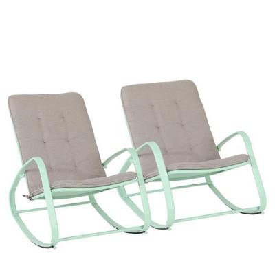 2pc Patio Modern Rocking Chair - Green - Captiva Designs