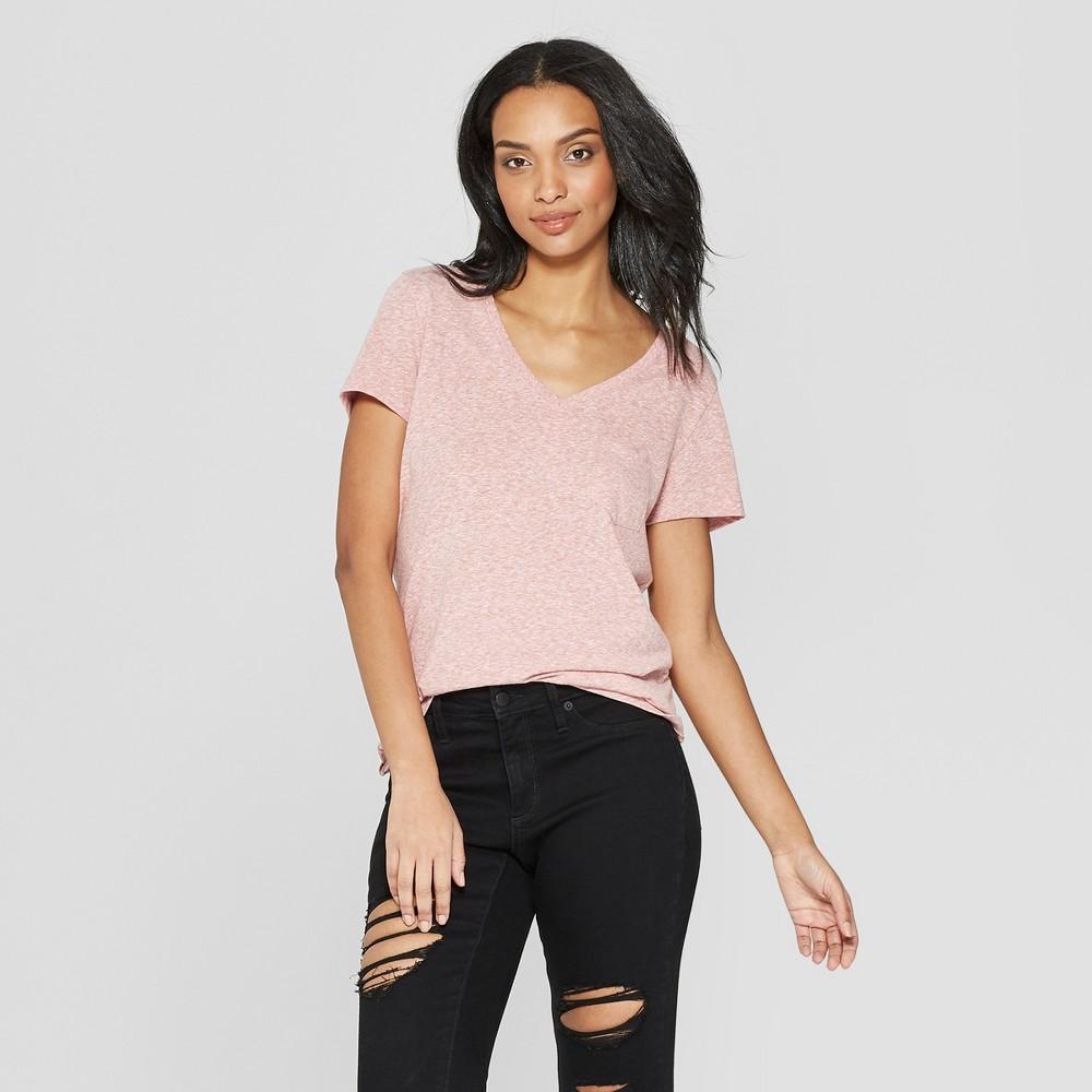Women's Short Sleeve V-Neck T-Shirt - Universal Thread Rose (Pink) XL