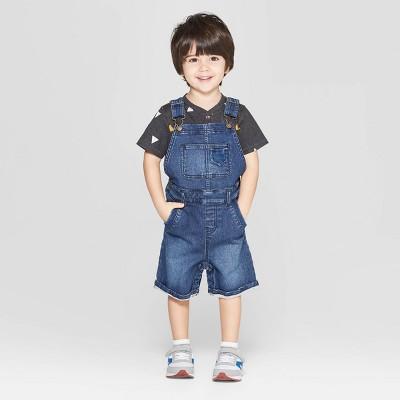 Genuine Kids® from OshKosh Toddler Boys' Knit Denim Overall - Dark Wash 18M