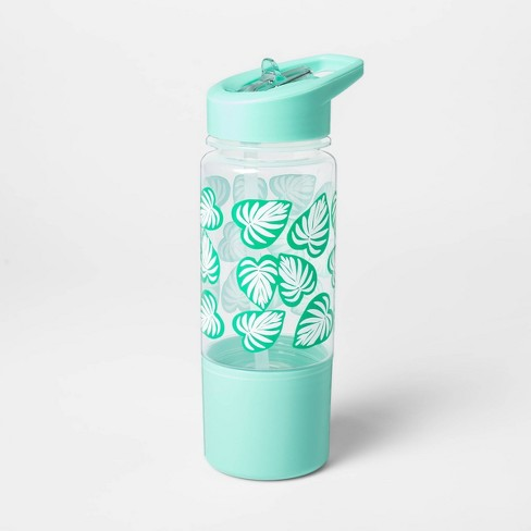 14oz Plastic Palm Leaf Water Bottle with Snack Container - Sun Squad™ - image 1 of 2