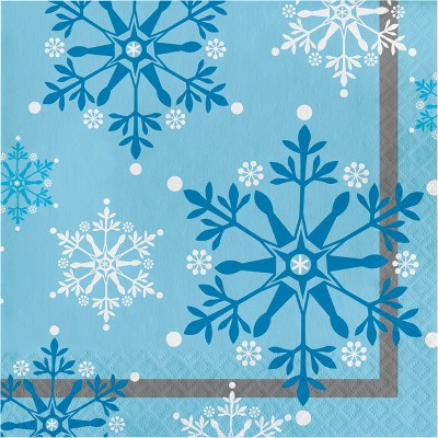 Snowflake Swirls Napkins Blue