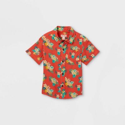 Toddler Boys' Floral Print Challis Woven Short Sleeve Button-Down Shirt - Cat & Jack™ Orange