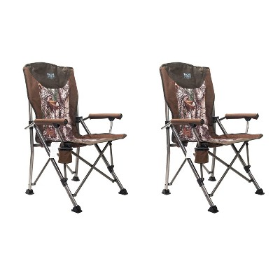 Timber Ridge Indoor Outdoor Portable Lightweight Folding Camping High Back Lounge Chair with Cup Holders, Camo (2 Pack)